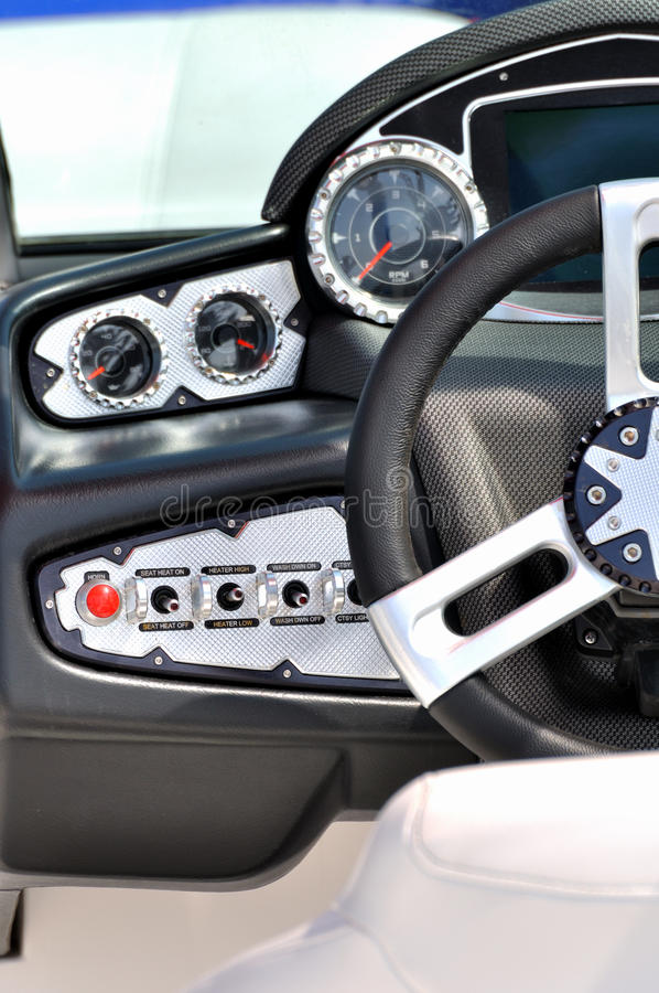 Wheel And Control Area Of A Luxury Yacht Stock Photography