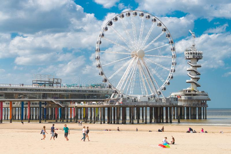 Wheel at De Pier in Scheveningen. Sunny weather, beach near The Hague, the Netherlands royalty free stock photography