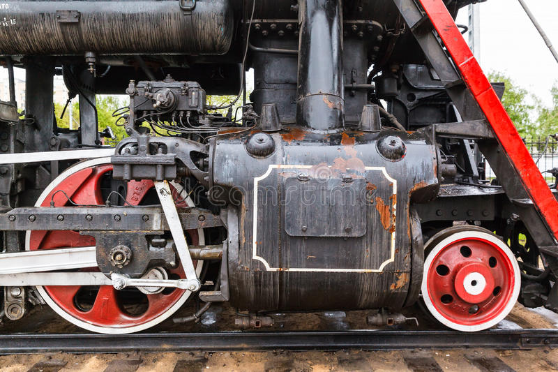 Wheel detail of a steam train locomotive stock photo