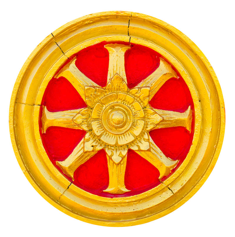 Wheel of dhamma golden. Isolate of art wheel of dhamma golden stucco with red trim stock photo