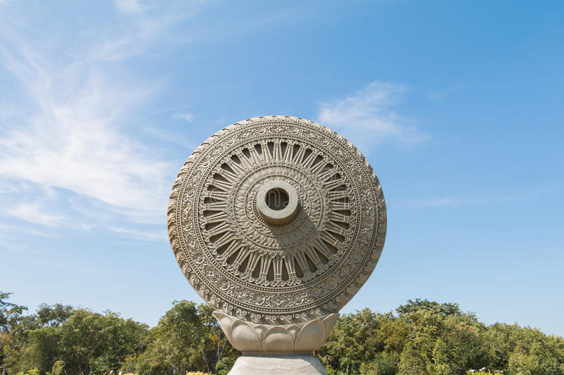 Wheel of Dhamma or Wheel of Law stock image