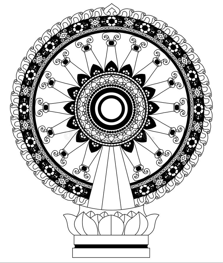 Wheel of Dhamma Wheel of life royalty free illustration