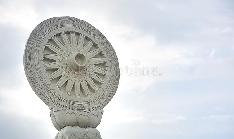 Wheel of Dharma, symbol of Asia Hinayana Buddhism. pattern of religion architecture. image for background, copy space. Wheel of Dharma, symbol of Asia Hinayana royalty free stock photos