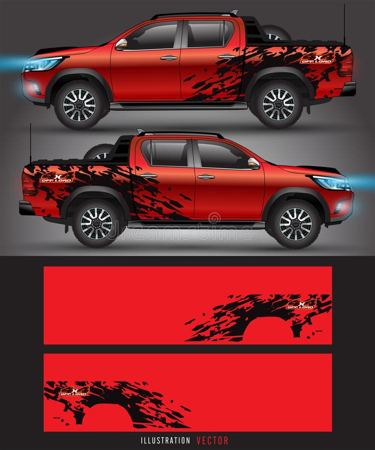 4 wheel drive truck and car graphic vector. abstract lines with black background design for vehicle vinyl wrap royalty free illustration