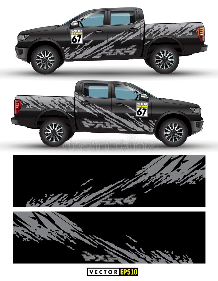 4 wheel drive truck and car graphic vector. Splash pattern abstract lines with black background design for vehicle sticker wrap. Truck 4 wheel drive and car vector illustration