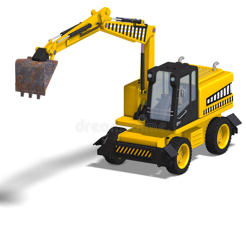 Wheel excavator. Rendering of a wheel excavator with Clipping Path and shadow over white royalty free illustration