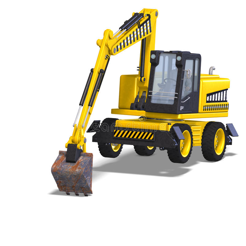 Wheel excavator. Rendering of a wheel excavator with Clipping Path and shadow over white vector illustration
