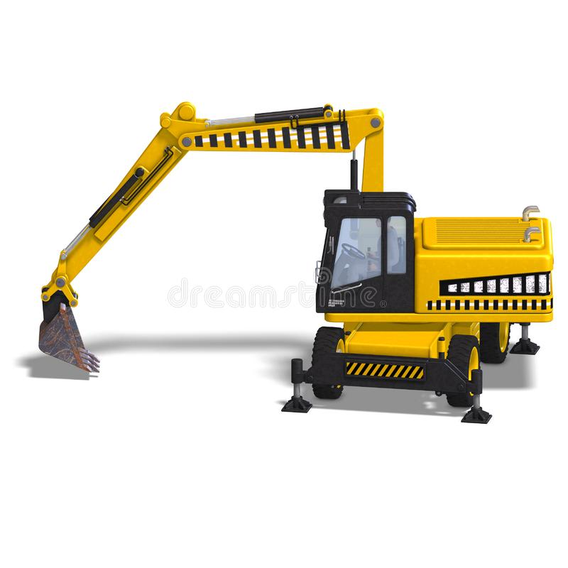 Download Wheel excavator stock illustration. Illustration of activity - 9798913