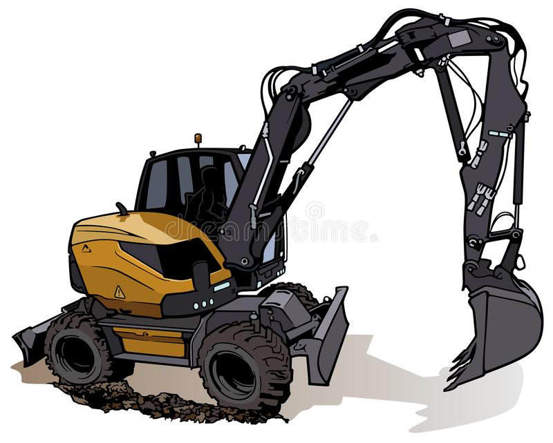 Wheel Excavator Machine. Colored Illustration, Vector stock illustration