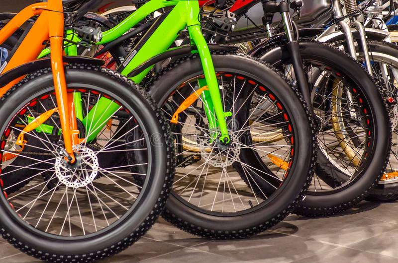 Wheel fat bike. In the store in the shop window royalty free stock photo