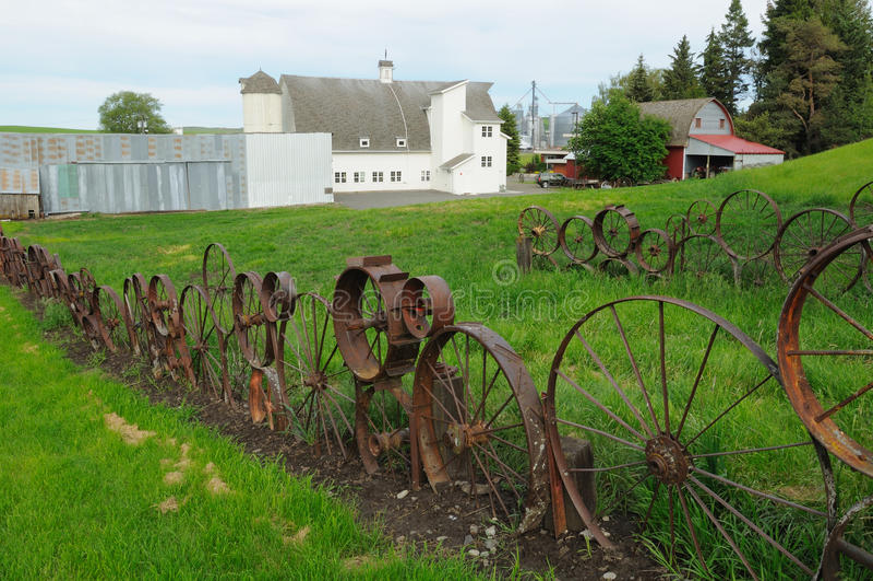 Wheel fence in dahmen barn royalty free stock images