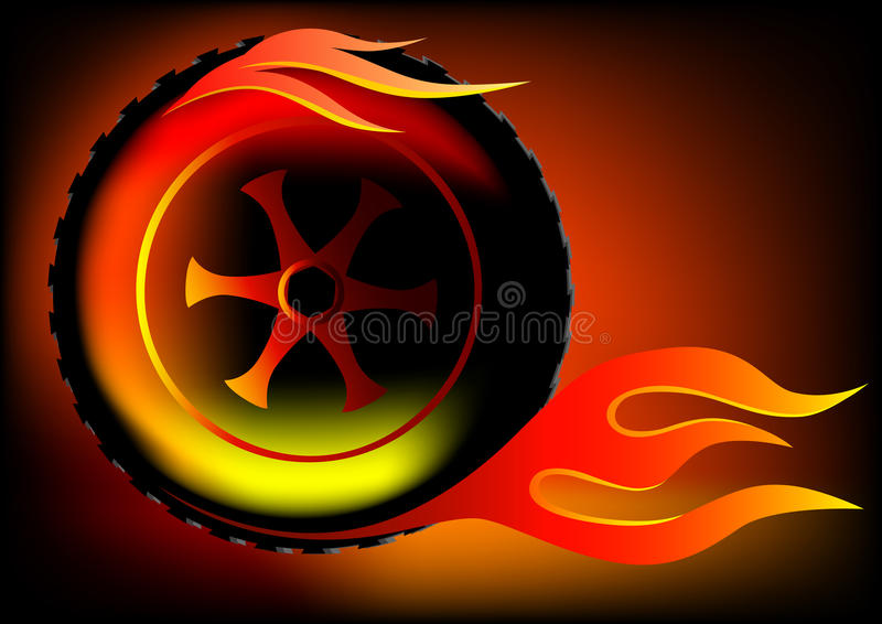 Wheel in flame vector illustration