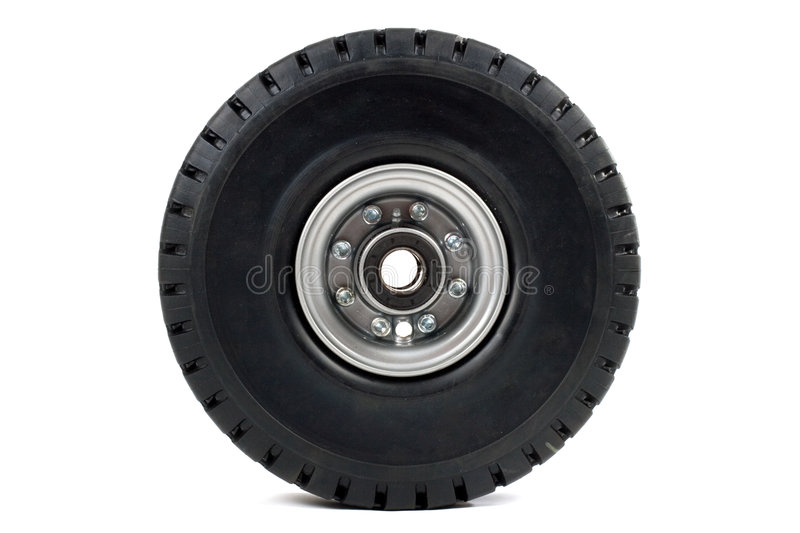 Wheel of forklift stock photography