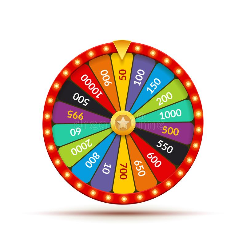 Wheel fortune casino game. Lucky prize spin jackpot lottery background. Fortune wheel isolated stock illustration