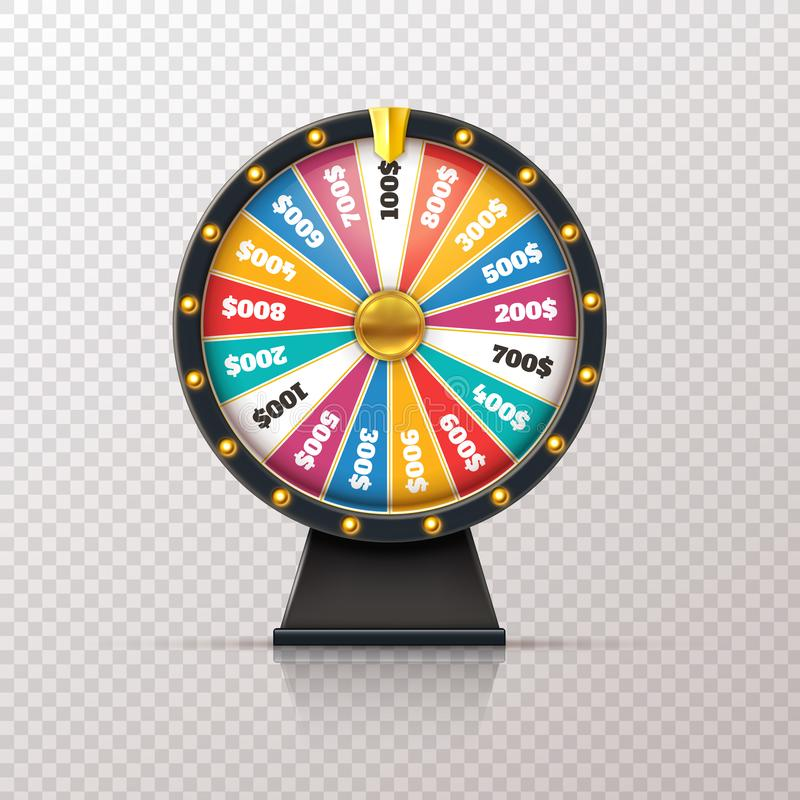 Wheel fortune. Casino prize lucky game roulette, win jackpot money lottery circle. Chance winner gamble wheel 3d vector illustration