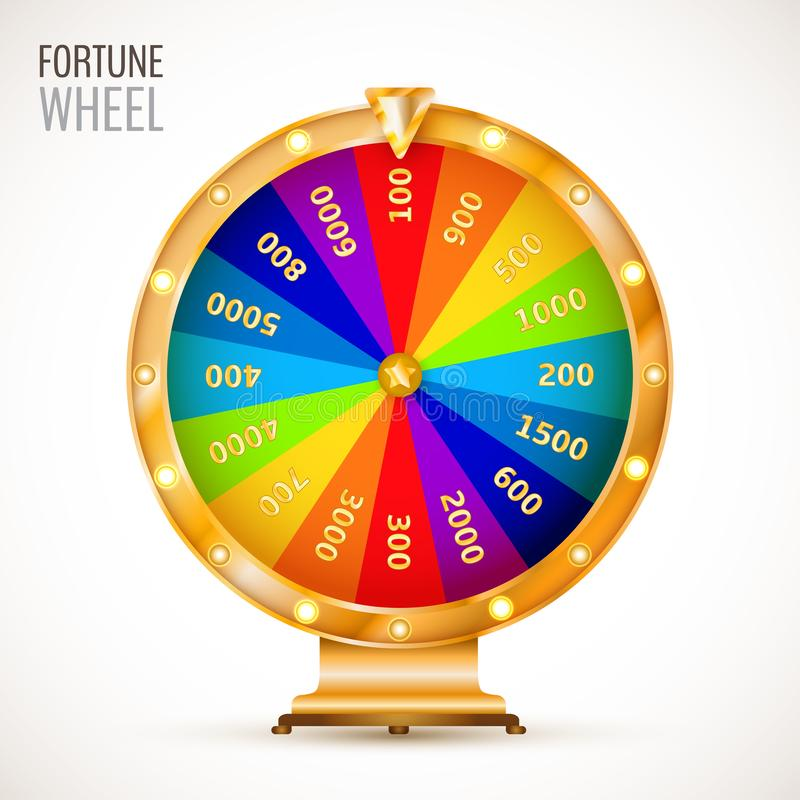 Wheel of fortune. Colorful and bright vector wheel of fortune with figures isolated on white background. Vector illustration for your graphic design vector illustration