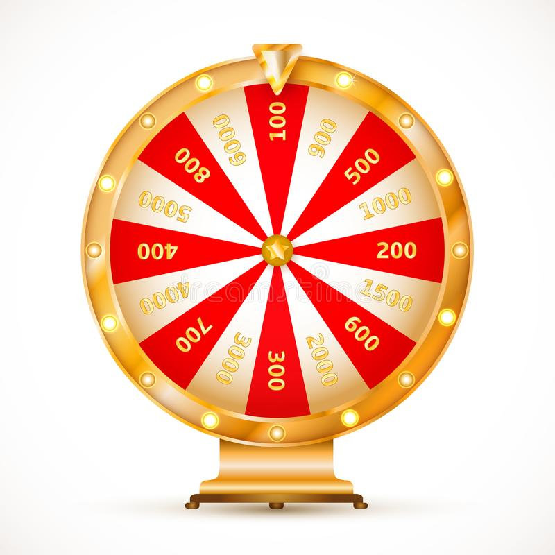 Wheel of fortune. Colorful and bright vector wheel of fortune with figures isolated on white background. Vector illustration for your graphic design stock illustration