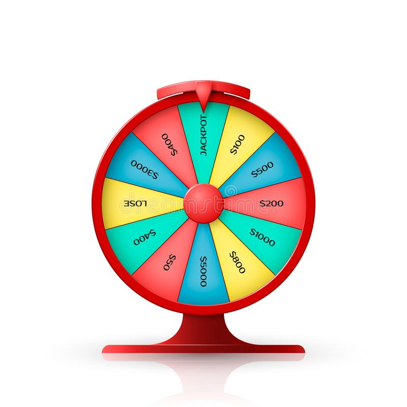 Wheel of fortune. 3d object isolated on white background. Vector illustration vector illustration