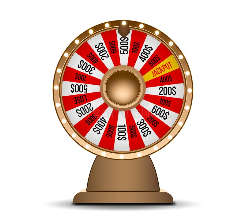 Wheel of fortune 3d object isolated on white background vector illustration