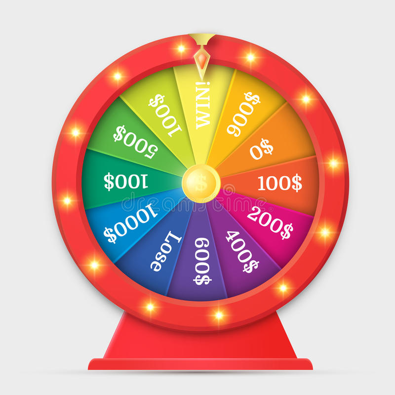 Wheel of fortune 3d object isolated on white royalty free illustration