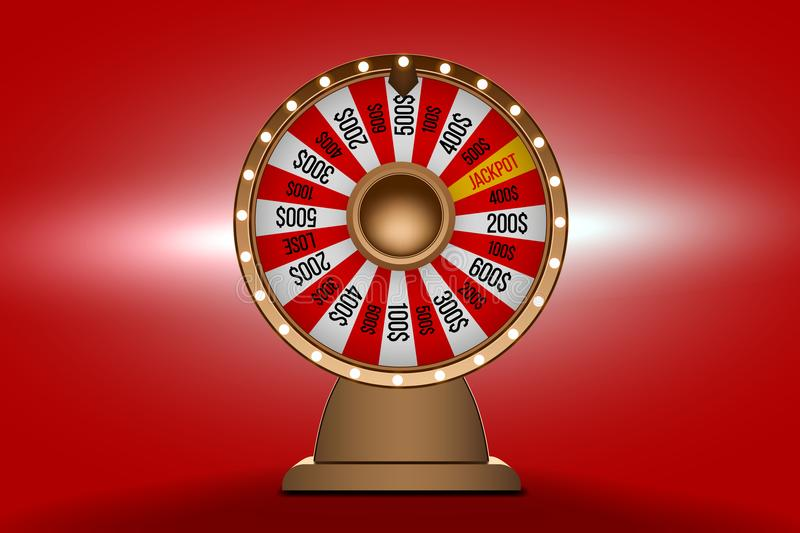 Wheel of fortune 3d object on red background stock illustration