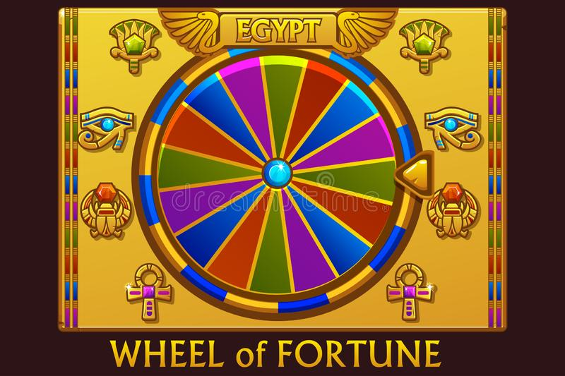 Wheel of fortune in egyptian style for UI game and casino. Vector Icons on separate layers. stock illustration