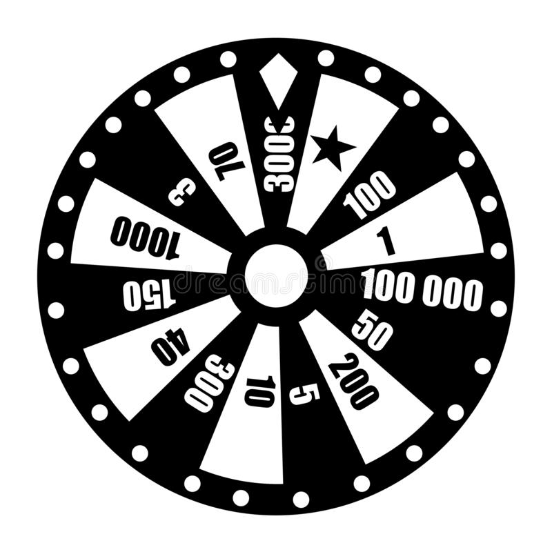Wheel of fortune. Wheel game ,winner play luck flat style. Vector illustration isolated on white background.  royalty free illustration