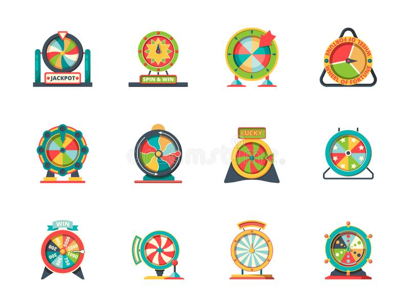 Wheel fortune icon. Circle objects of lucky spinning roulette vector lottery wheels collection. Fortune wheel for play, luck casino game illustration royalty free illustration