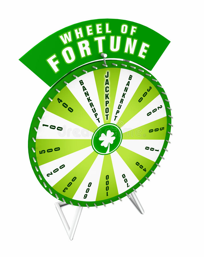 Wheel of fortune. Illustration of green wheel of fortune isolated on a white background royalty free illustration