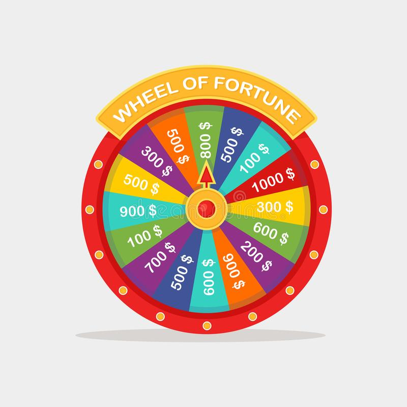 Wheel of fortune isolated on background. Roulette of fortune. Lottery, game in casino concept. Vector cartoon design stock illustration