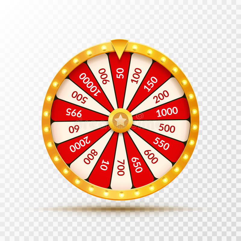 Wheel Of Fortune lottery luck illustration. Casino game of chance. Win fortune roulette. Gamble chance leisure vector illustration