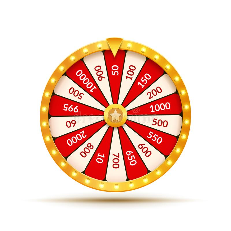 Wheel Of Fortune lottery luck illustration. Casino game of chance. Win fortune roulette. Gamble chance leisure stock illustration