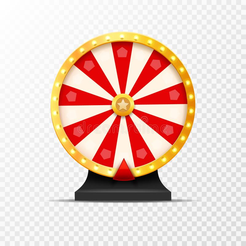 Wheel Of Fortune lottery luck illustration isolated. Casino game of chance. Win fortune roulette. Gamble chance leisure.  vector illustration