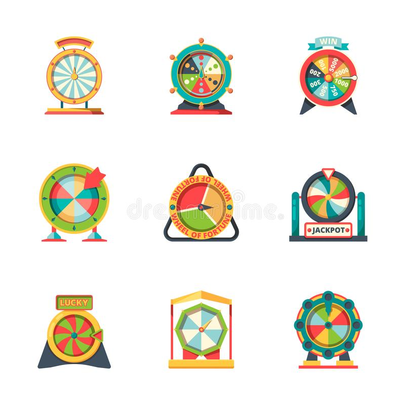 Wheel fortune. Lucky circle symbols roulette casino gambling game vector fortune icons flat style stock illustration