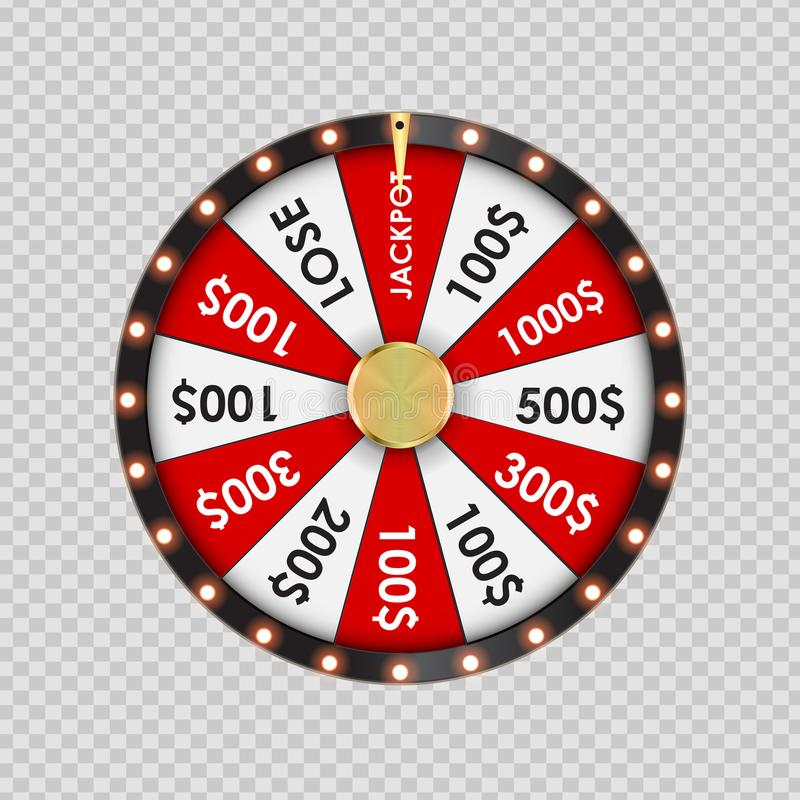 Wheel of Fortune, Lucky Icon on Transparent Background. Vector Illustration. EPS10 royalty free illustration