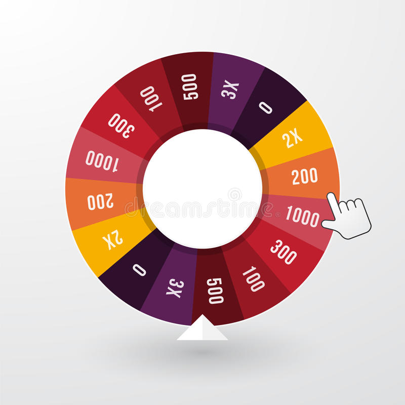 Wheel of fortune. With the pointer in pastel colors vector illustration