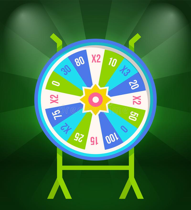 Wheel of Fortune with Prize Stakes on Stand Isolated. On green. Casino gambling game icon, vegas entertainment device, betting and leisure activities stock illustration
