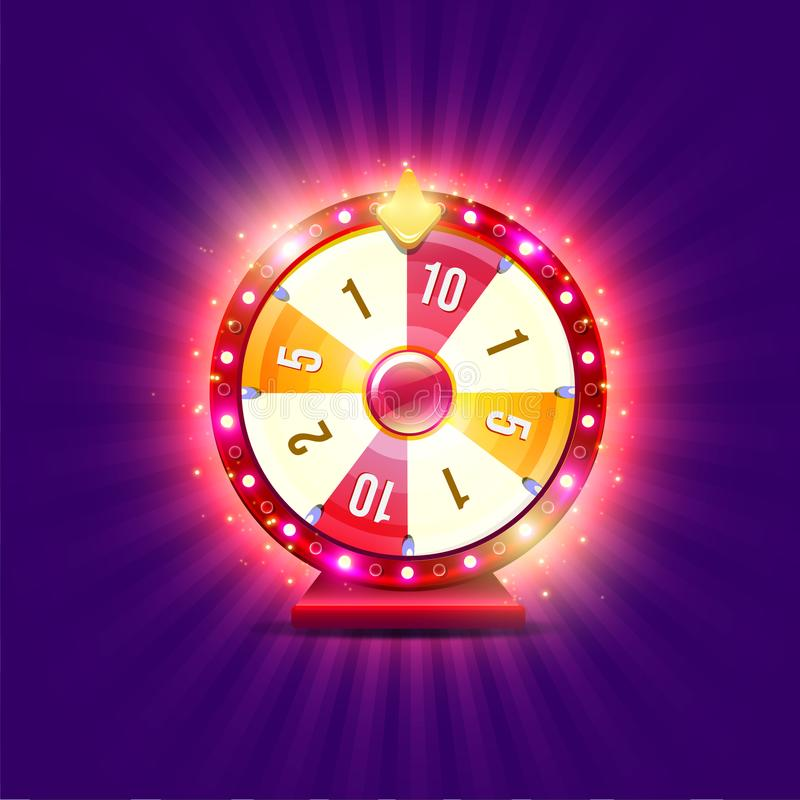 Wheel of fortune. With shine lamps and arrows royalty free illustration