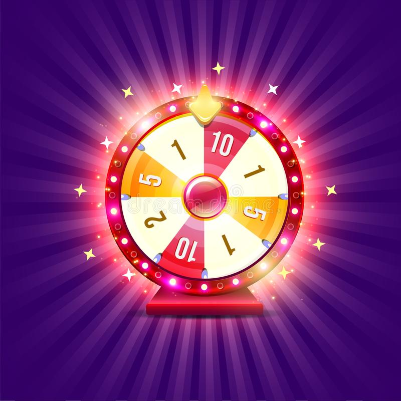 Wheel of fortune. With shine lamps and arrows vector illustration