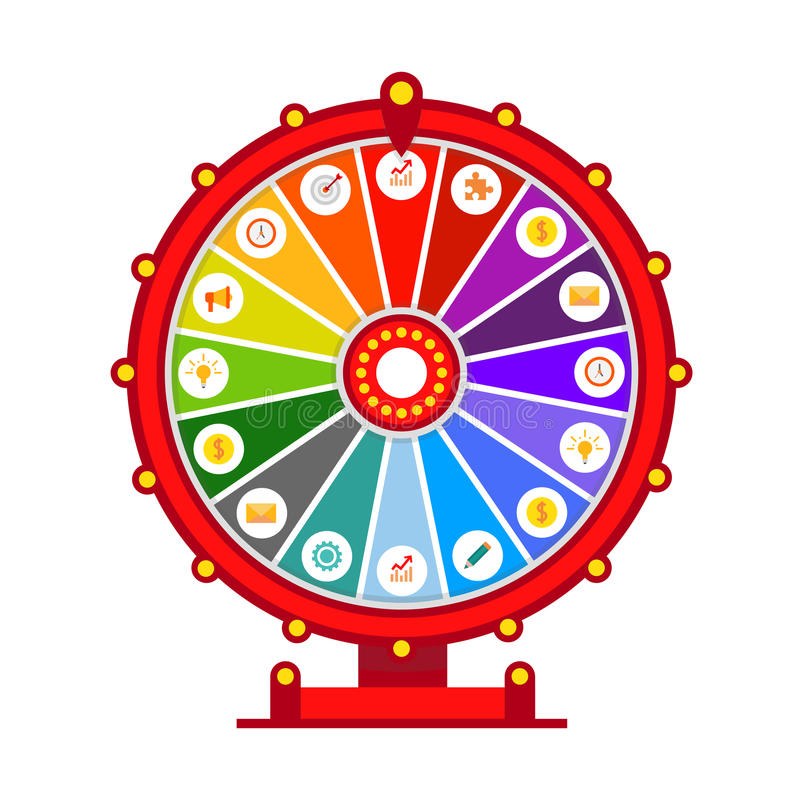 Wheel of fortune vector infographic elements, flat design isolated on white background. Stock vector vector illustration