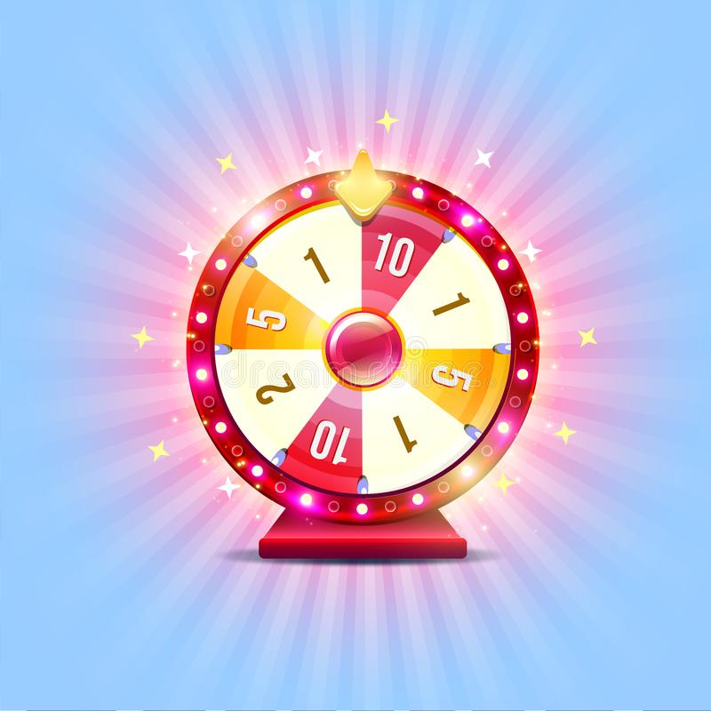 Wheel of fortune. With shine lamps and arrows stock illustration