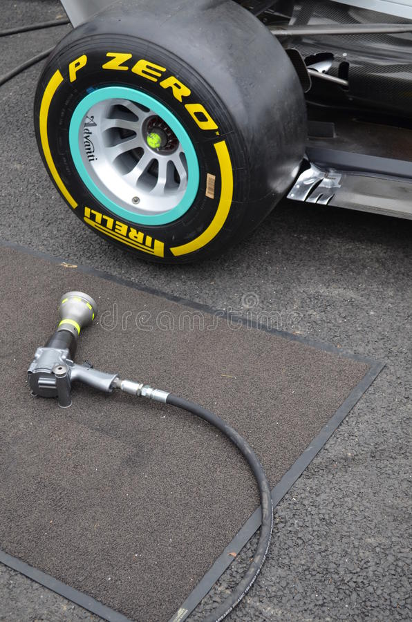 Wheel gun ready for use on a Formula one car. stock photo