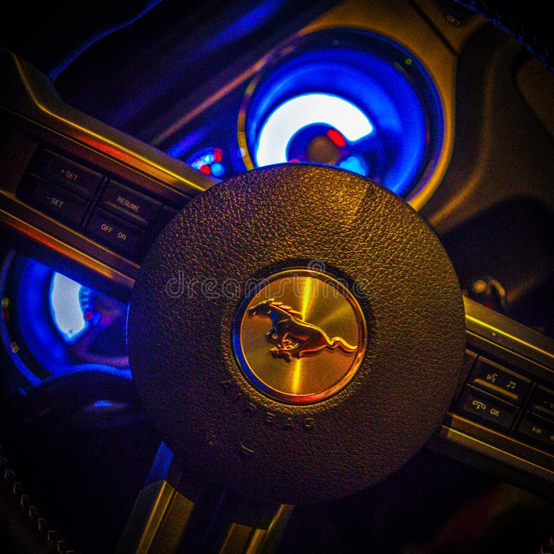 The wheel steering mustang night dashboard horse car stock images