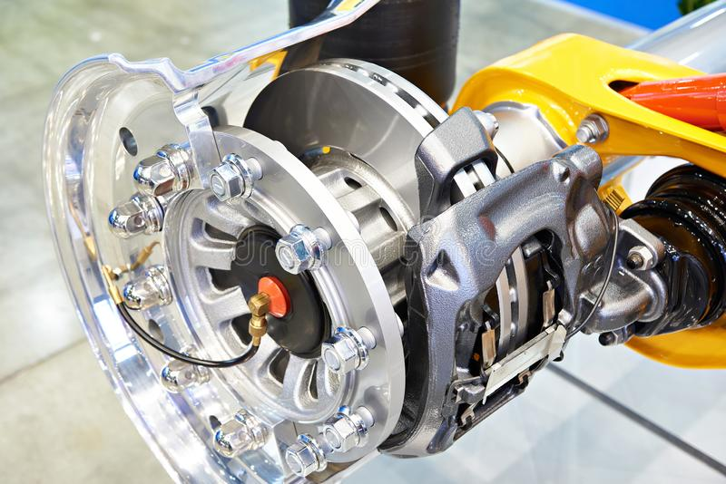 Wheel hub with disc brakes. Cross section royalty free stock photography