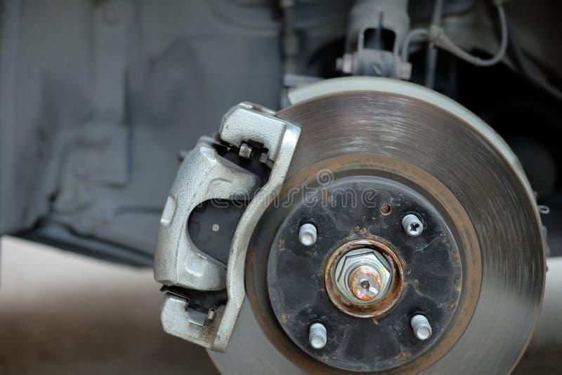 Wheel hub with disc break. Wheel hub with disc break close up stock image