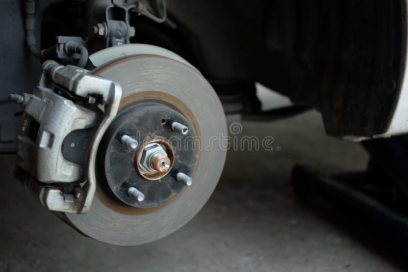 Wheel hub with disc break. Used wheel hub with disc break stock photos
