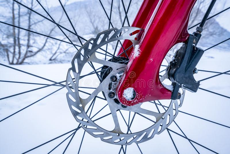 Wheel hub of fat bike with disc brake royalty free stock image