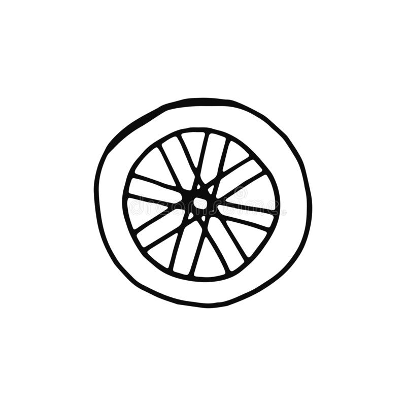 Wheel. icon isolated object silhouette stock illustration