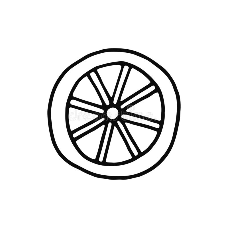 Wheel icon. sketch isolated object black royalty free illustration