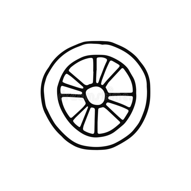 Wheel icon. sketch isolated object black stock illustration